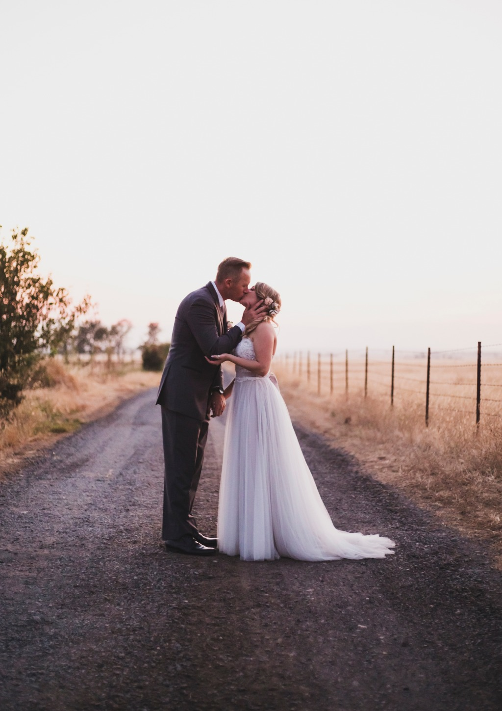 Sunset photos with the bride & groom at White Ranch Events in Chico Ca
