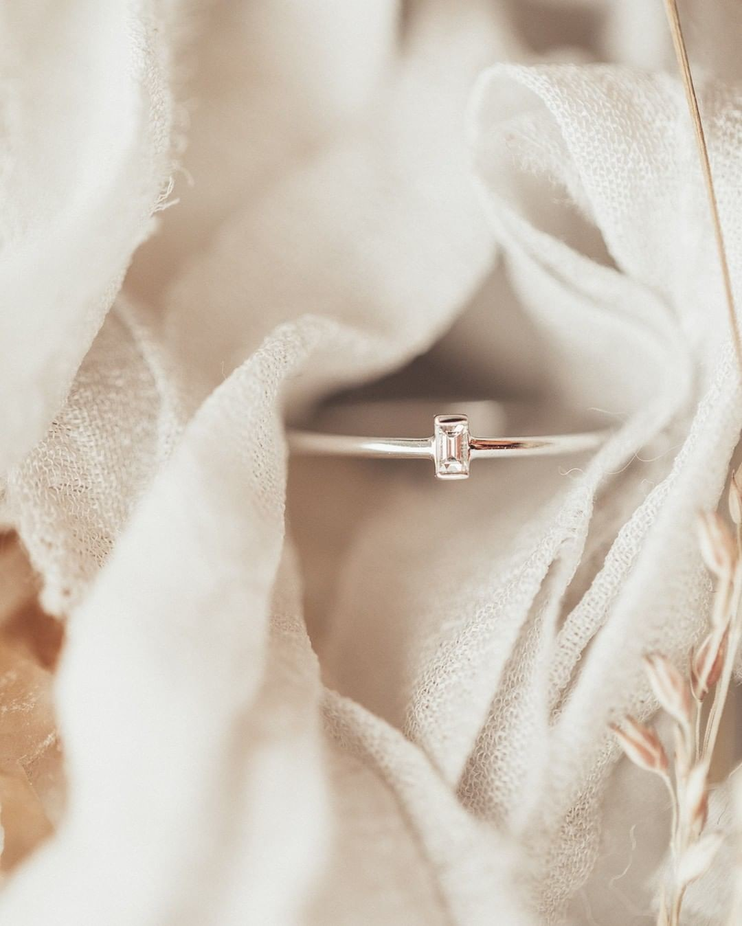 We've got a thing for baguettes. This baby baguette diamond ring on a thin 18k white gold band is available online now.