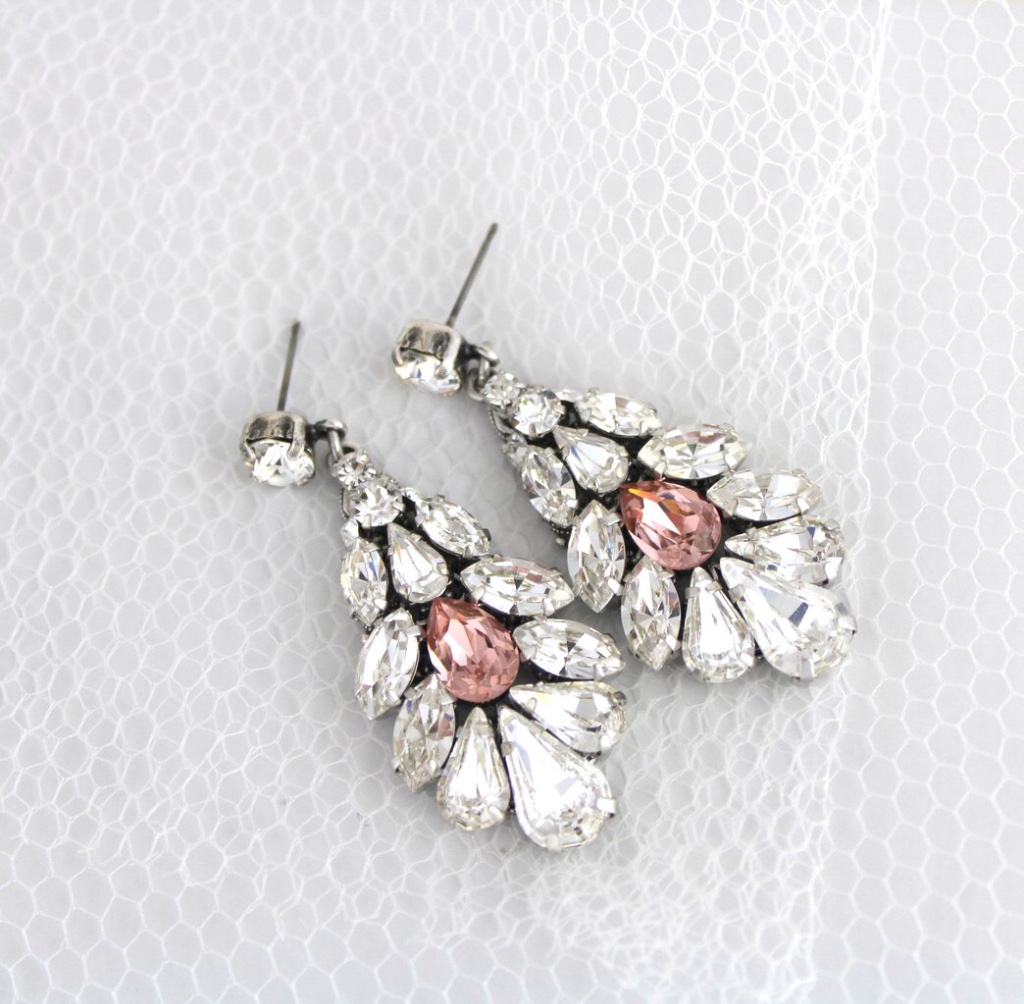Swarovski crystal Bridal earrings created with Swarovski Crystals and just a hint of blush pink.