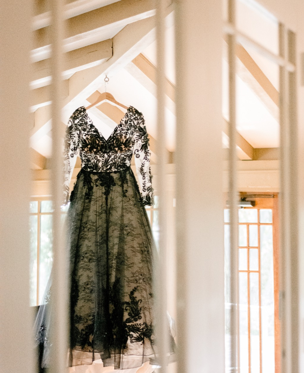 We love a good mirror shot, especially when it is showing off a gorgeous wedding dress. Black wedding dresses are becoming a trend