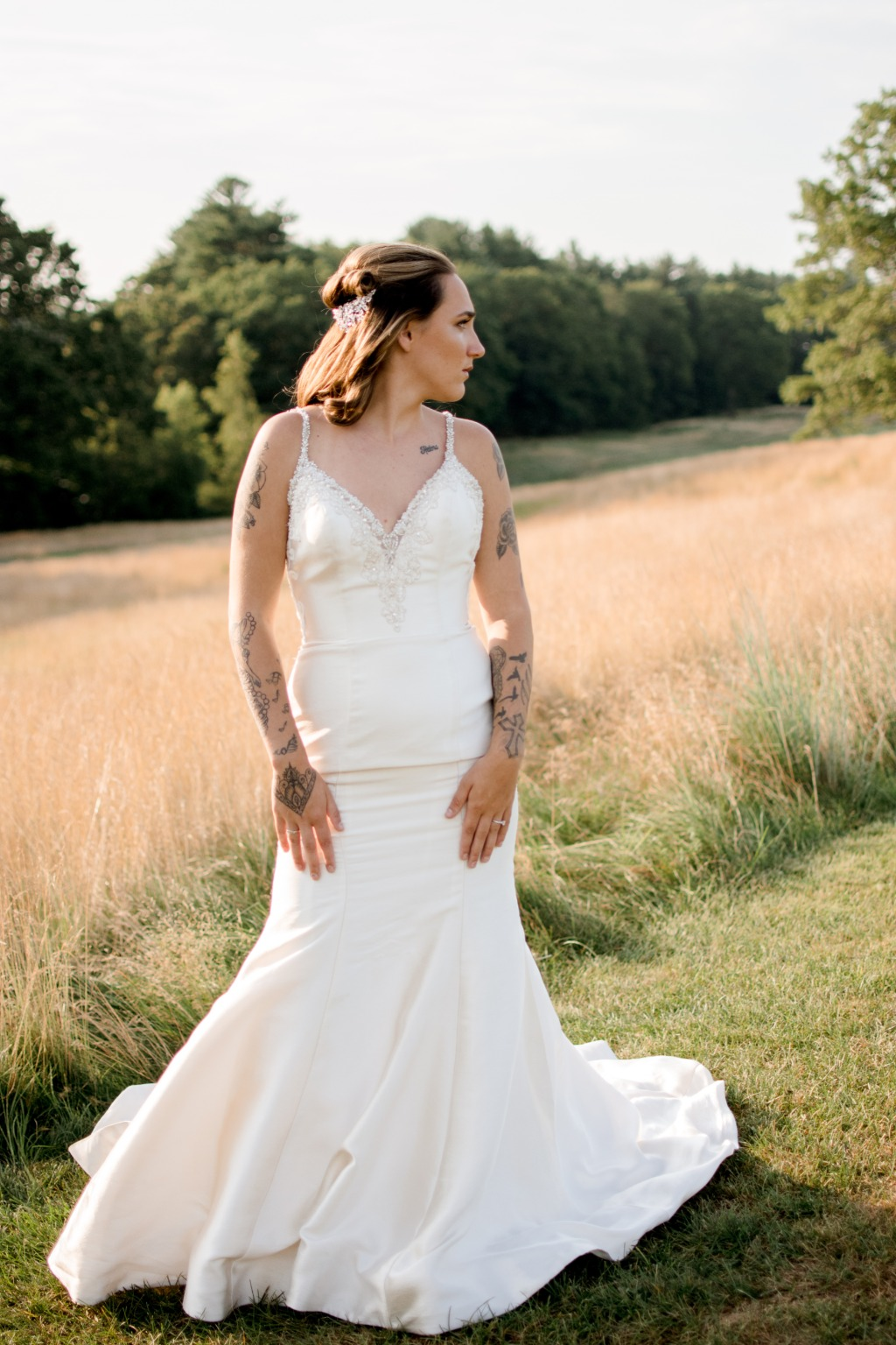 Gorgeous bride in a silk wedding dress at the New Haven Country Club in Connecticut. Summer wedding bridal portrait inspiration.