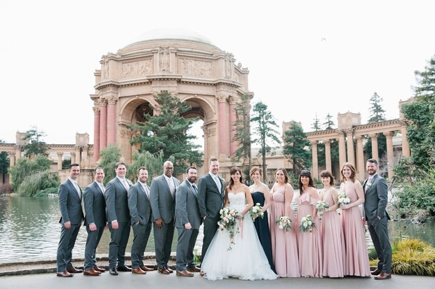 wedding party in blush and grey