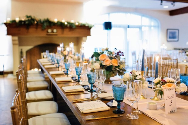 wedding reception in blue and gold