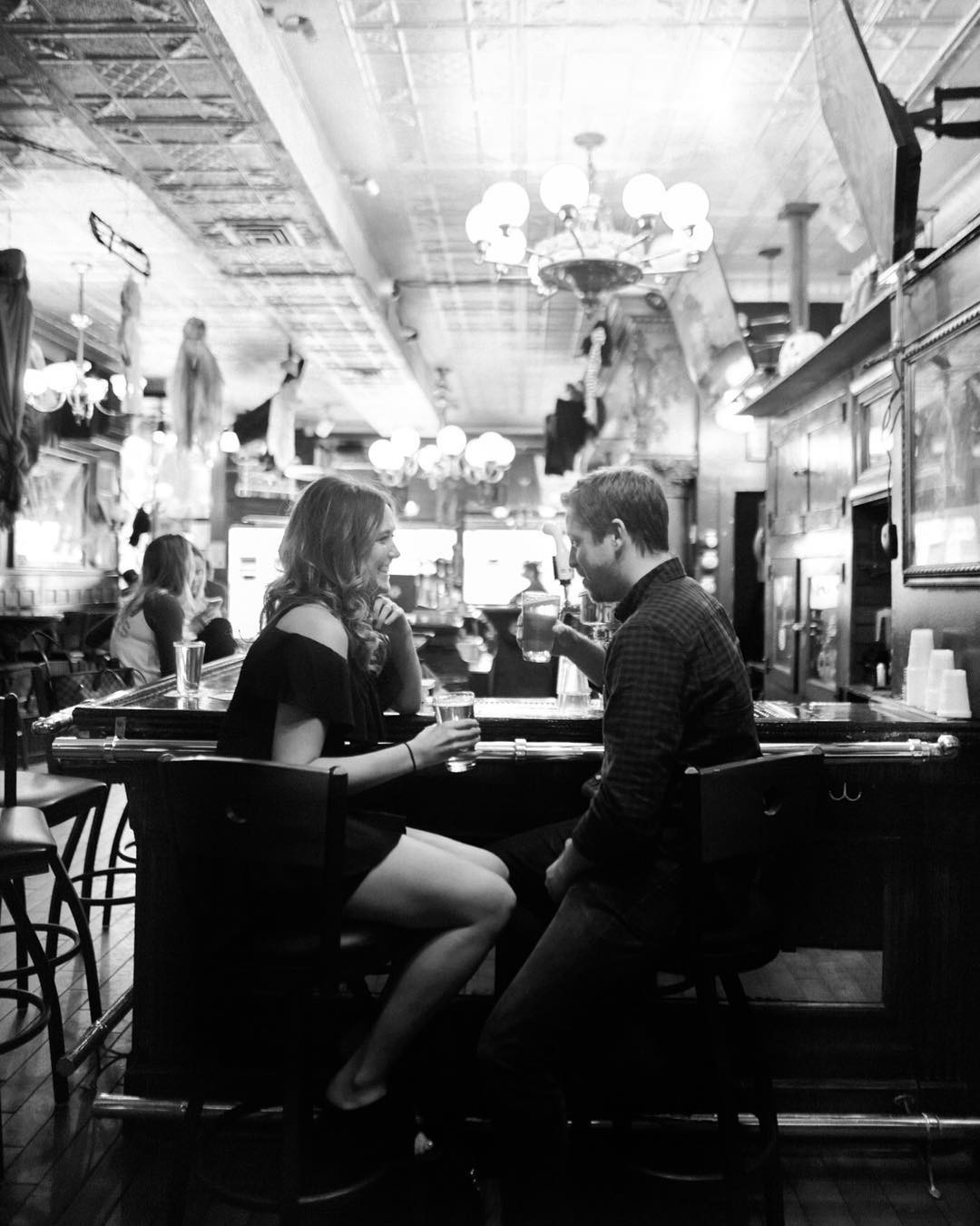 Engagement session in a local Chicago tavern