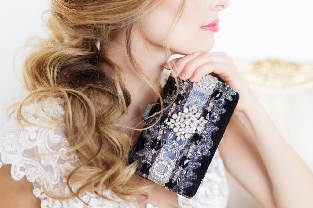 Evening ready with this gorgeous black lace rhinestone clutch