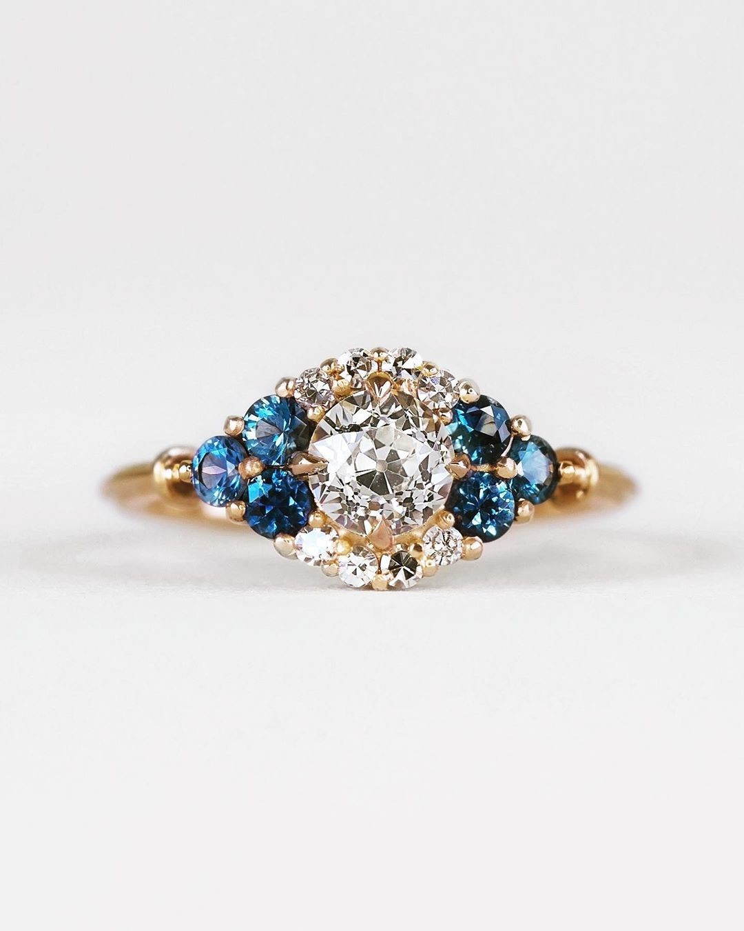 This ring can be my 🌞🌚✨💫 A glimmering assortment of antique post-consumer diamonds and Montana Sapphires create a unique