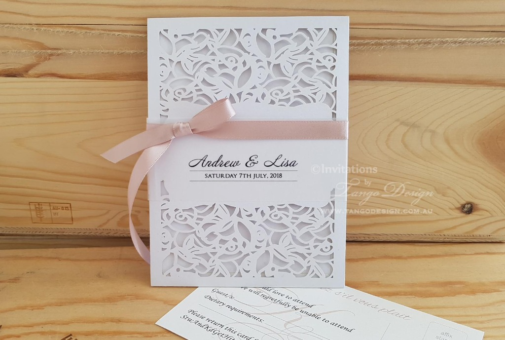 Classy garden wedding invitation with printed card inside.