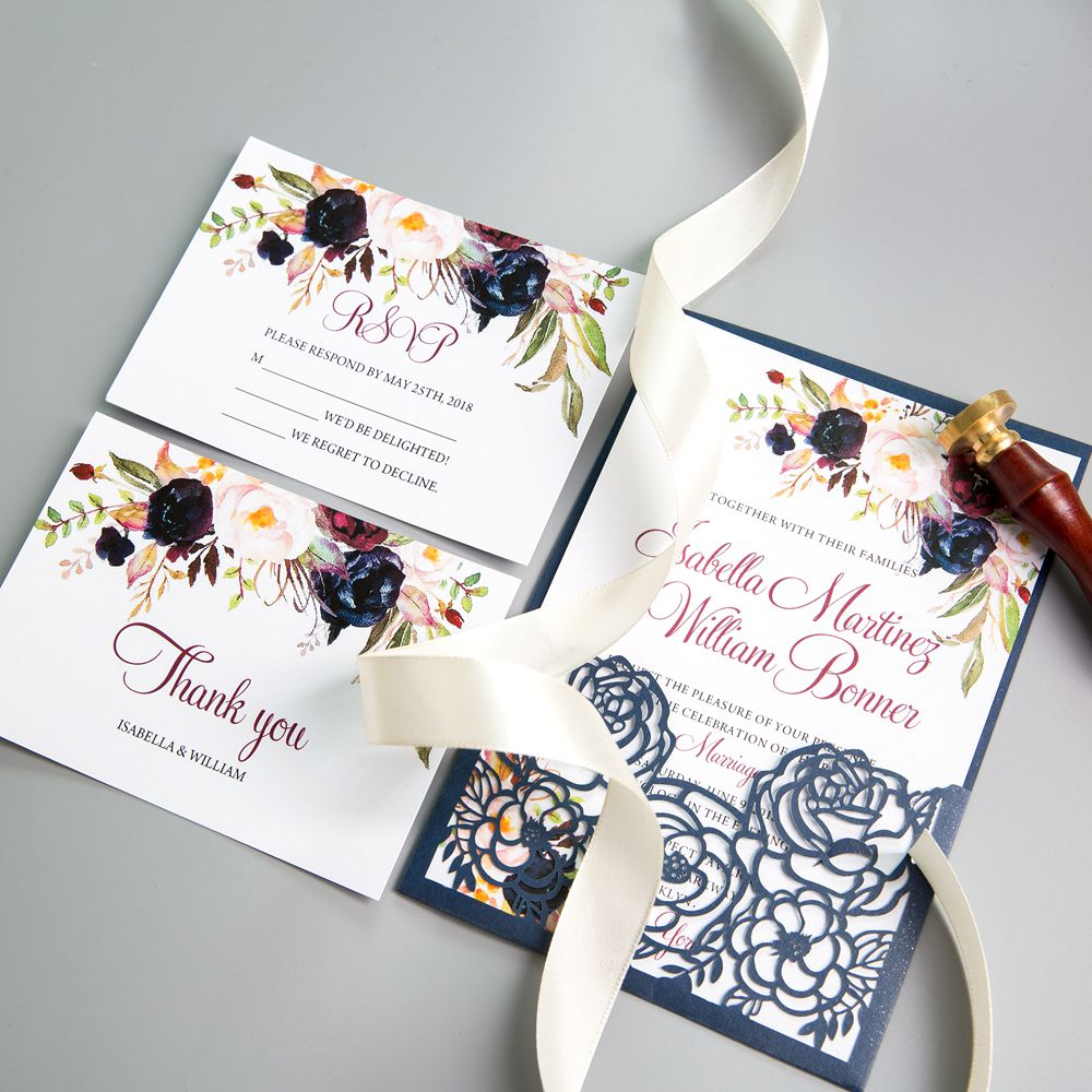 The brilliantly colorful blooms decorating the corners will help focus on your wording. Anyway the watercolor floral design will add
