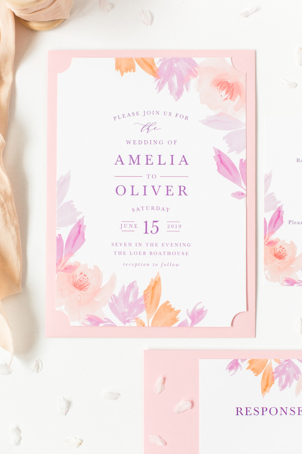 Your guests will adore the Water Rose Wedding Invitations! Watercolor roses and foliage surround your text and draw the eyes to the