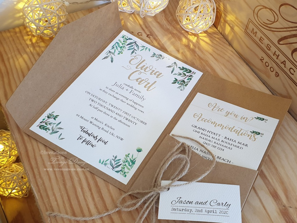 Kraft pocket fold with greenery design printed. Also available for native, botanical, floral, monogram or plain script wording designs