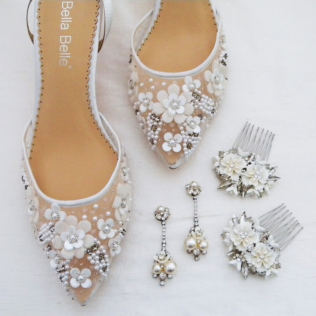 You got the dress! Now for the rest! Rosa wedding shoes by Bella Belle Shoes, Earrings & Hair Combs by Erin Cole design. Visit