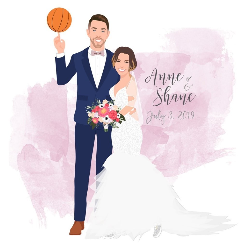 This couple is a slam dunk! 🏀 That navy tux, the ruffled dress, and those beautiful flowers with that pink watercolor make for a
