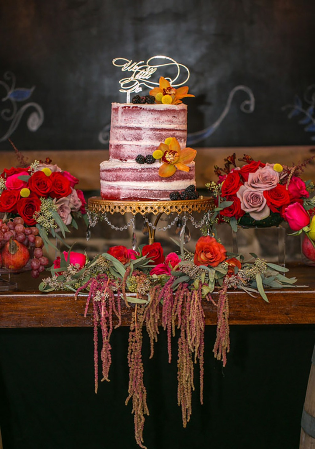 Rustic & Glamorous Wedding Cake Table ...Photographer: Aida Malik Photography //Floral Designer, Event Designer, and Event Planner