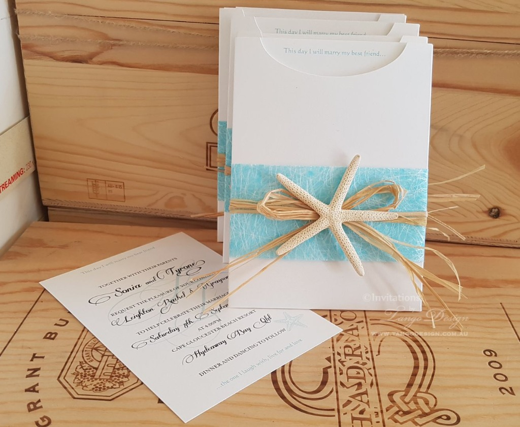 Beach wedding invites sleeve with printed card inside. Crafted to perfection.