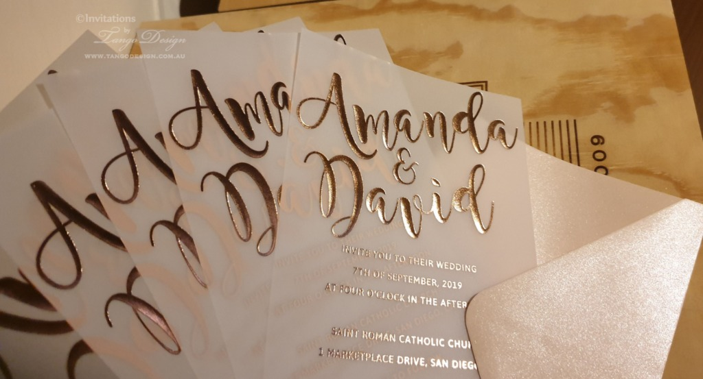 Rose gold or gold foil printed invitations on vellum paper or card stock. Elegant and suitable for all themes.