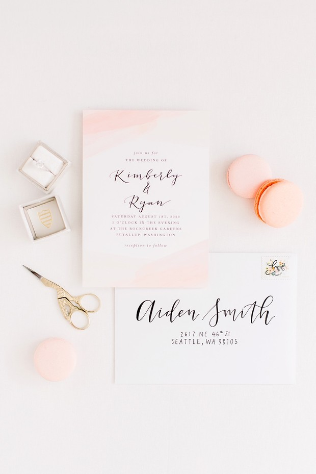 soft coral wedding inviation