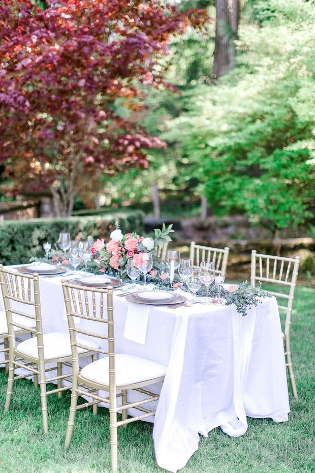garden wedding reception in coral and white