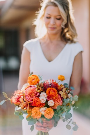 wedding bouquet in orange