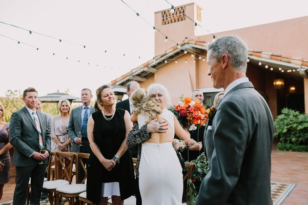 Intimate Coral And Orange Open Bar Wedding