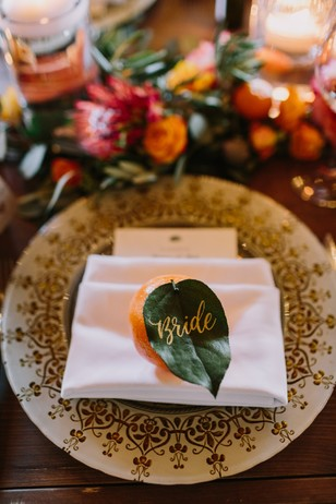 orange wedding place card