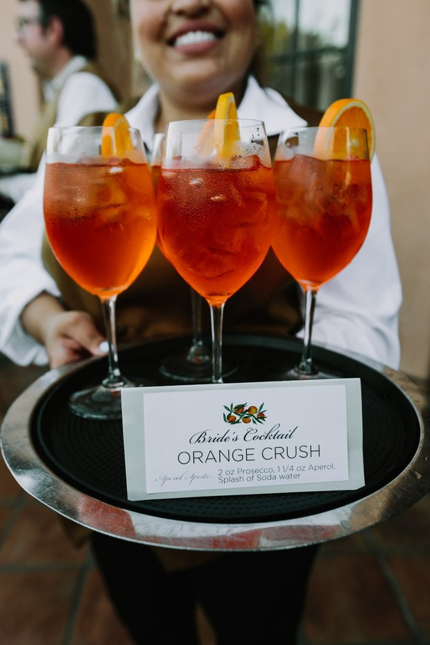 orange crush wedding cocktail