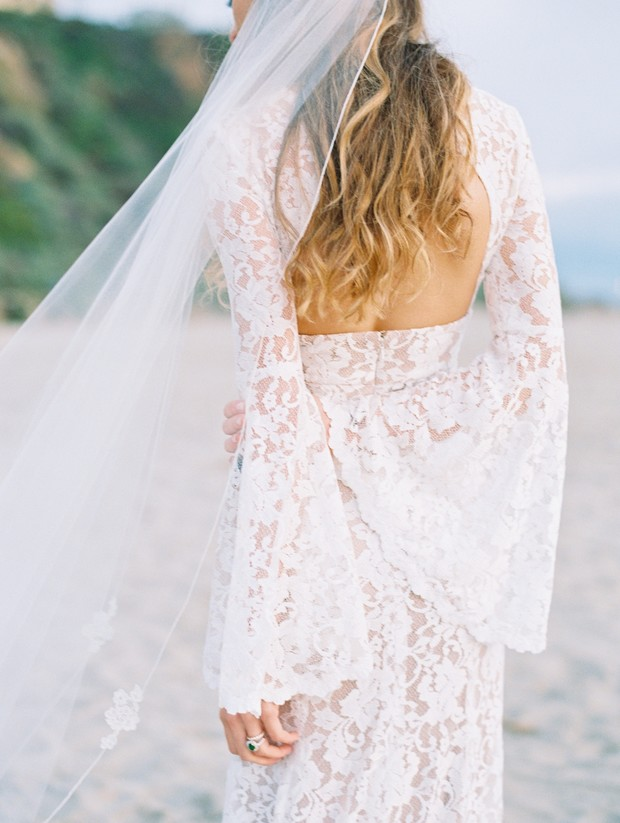bell sleeve bridal gown