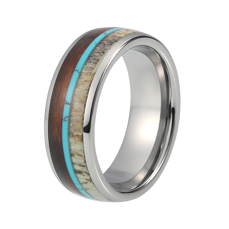 One of our most popular Mens Titanium Rings, featured here is the polished titanium ring with Deer Antler and Chestnut Wood, artfully