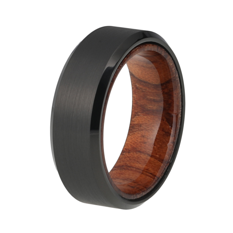 Exotic hardwoods are the hottest trend in Mens Wedding Bands and this Black Tungsten ring by Alpine Rings is a show stopper. This wedding