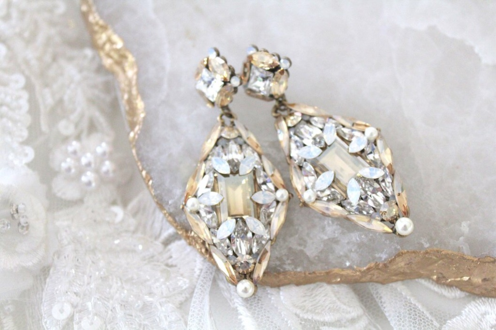 Vintage inspired Antique Gold Swarovski crystal Bridal earrings crafted in my studio with layers of Swarovski crystal in different