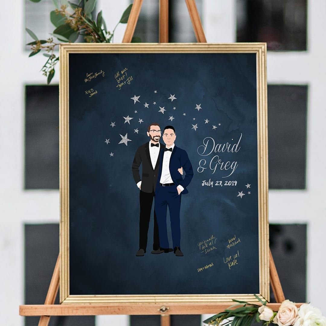 🎵 Oh my, starry-eyed surprise. 🎵 How handsome are these two grooms? The starry-night guestbook is perfect whether you're an