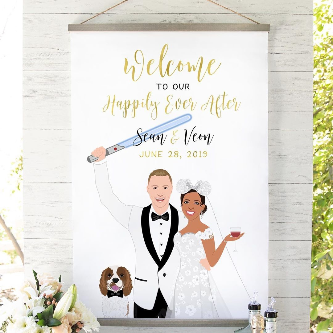 The Force is strong with this couple! We've got a Jedi groom, a Disney-loving bride, and an absolutely adorable pup! How fun is this