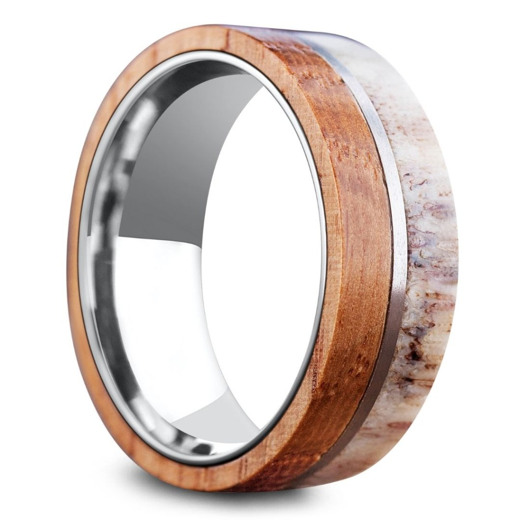 Men's titanium wooden deer antler ring.