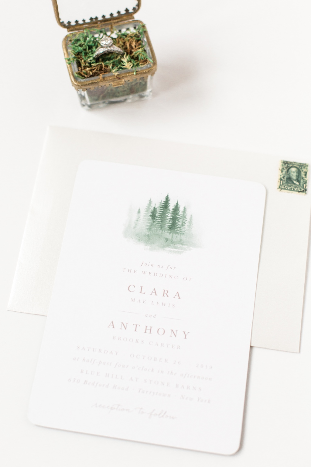 Our Watercolor Pines Wedding Invitations will keep your guest dreaming of crisp neutrals, and dark greens. A perfect mix for your mountain