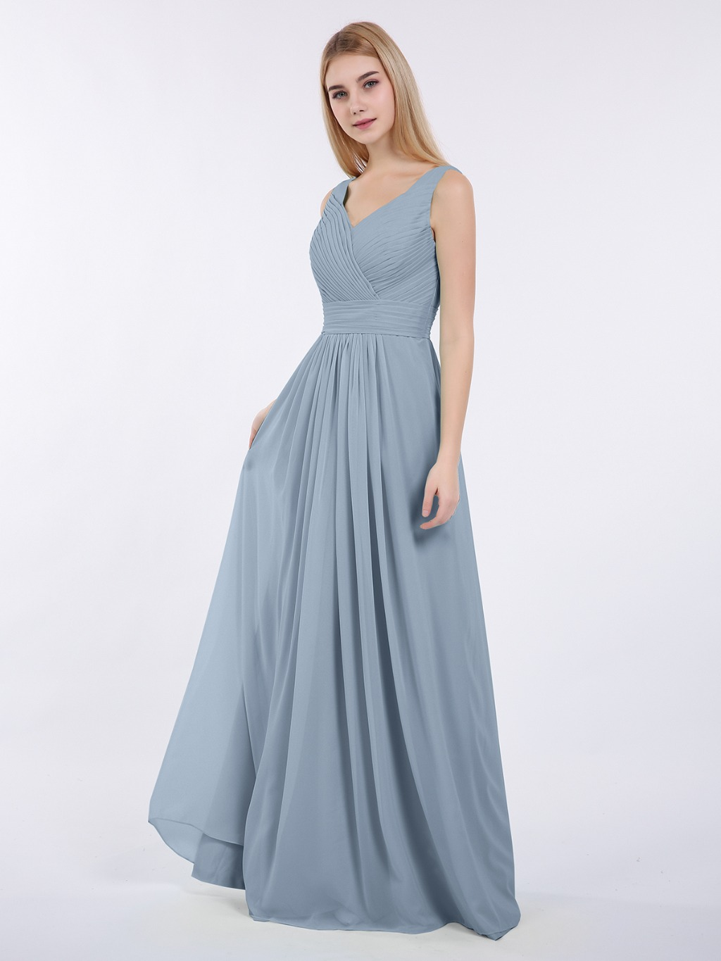 V-neck Full Length Chiffon Dress with Pleated Bodice