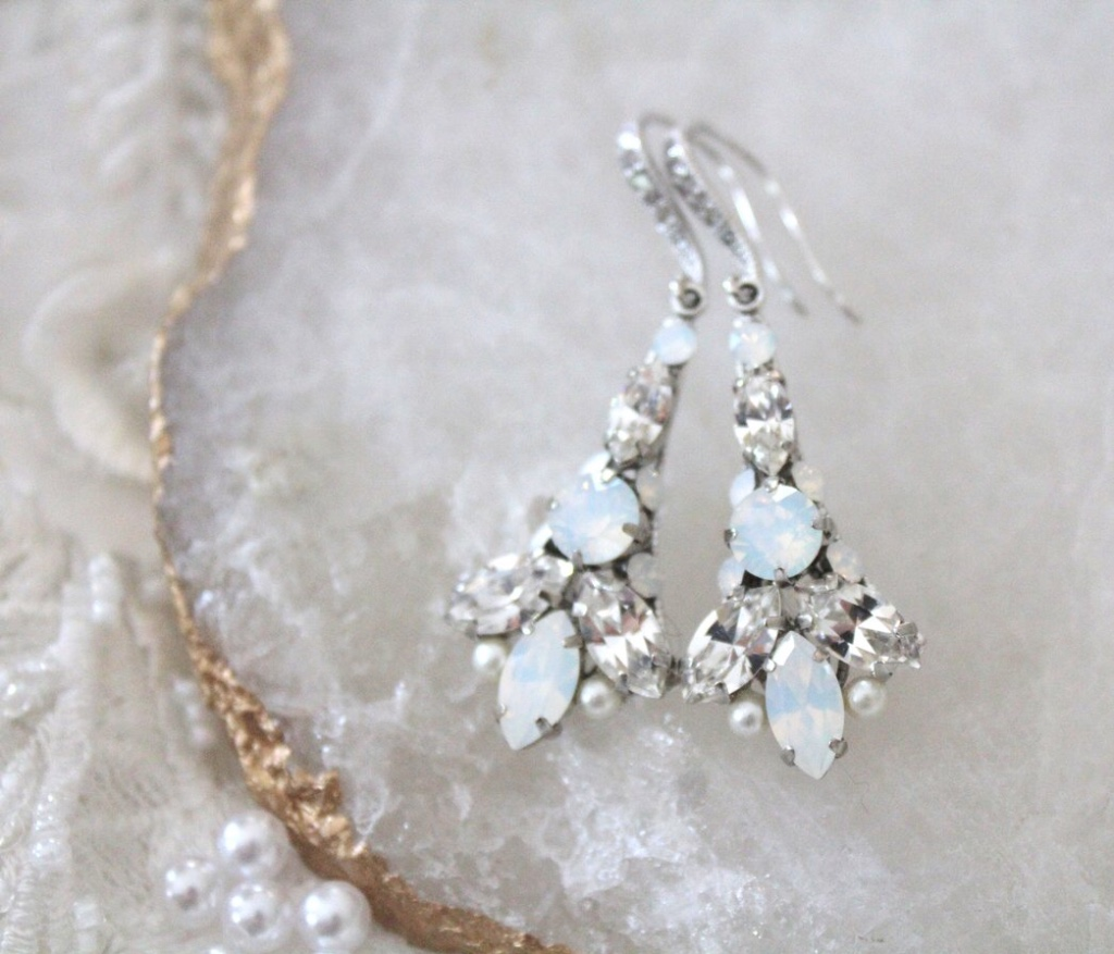 Bridal Art Deco style earrings with Swarovski white opal and clear crystal stones. Handcrafted just for you.