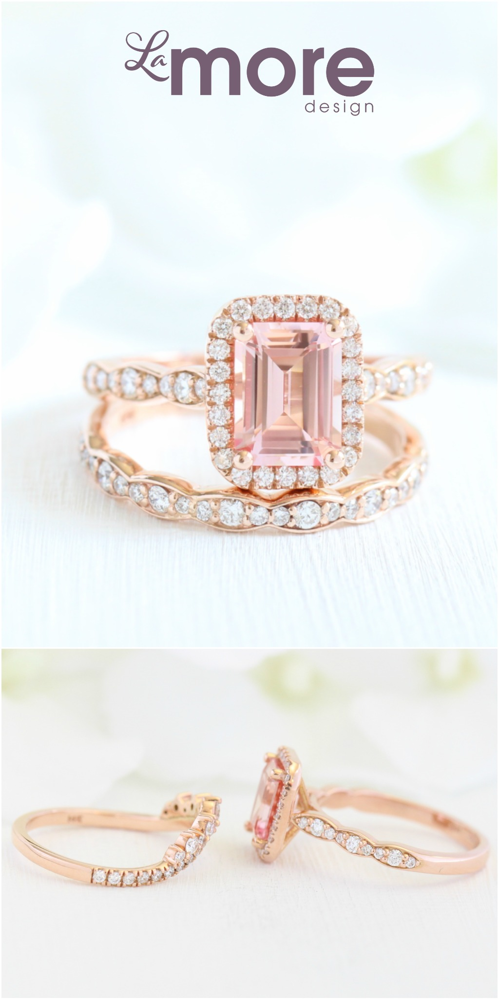 Classic yet elegant sapphire bridal ring set features a 8x6mm emerald cut conflict free cultured champagne peach sapphire set in 14k