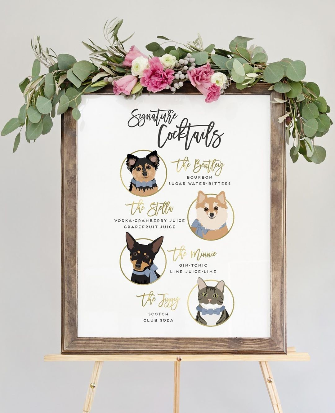 When you've got 4 adorable fur-babies and a love of cocktails, this is the PERFECT way to combine them! And for any summer wedding