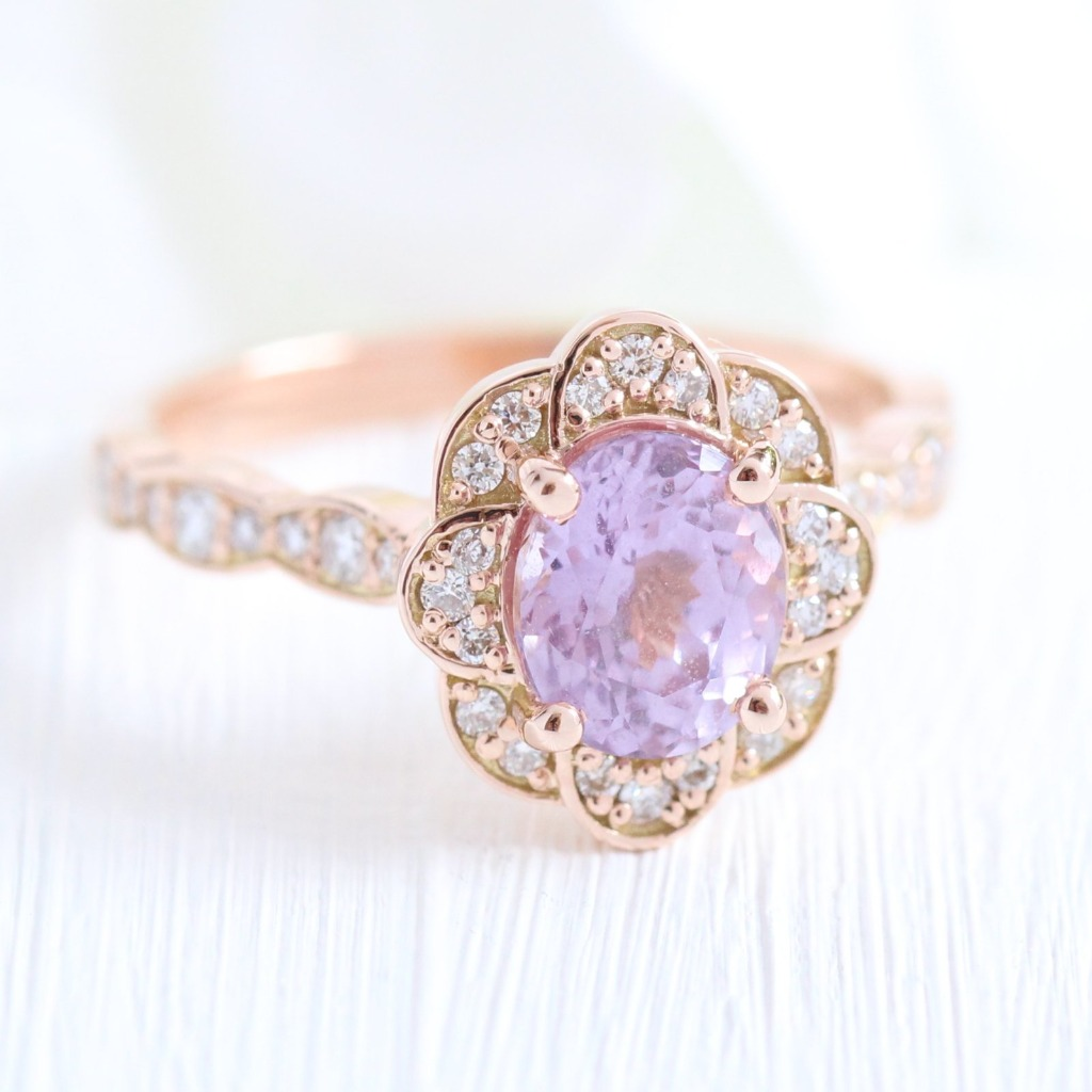 Breathtakingly Gorgeous! Truly one of a kind lavender purple sapphire engagement ring is crafted in 14k rose gold Vintage Floral Ring