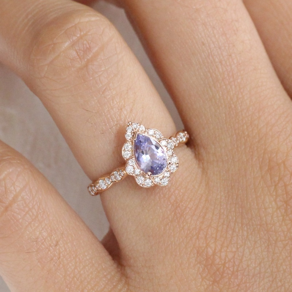 2019 Engagement Rings Trend! Vintage Inspired Pear Natural Lavender Purple Sapphire Engagement Ring are the most wanted engagement