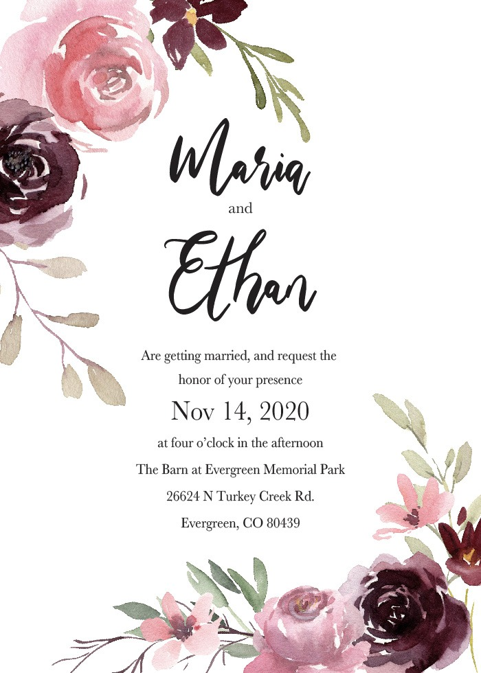 Print: Blush Rose Wedding Invitations