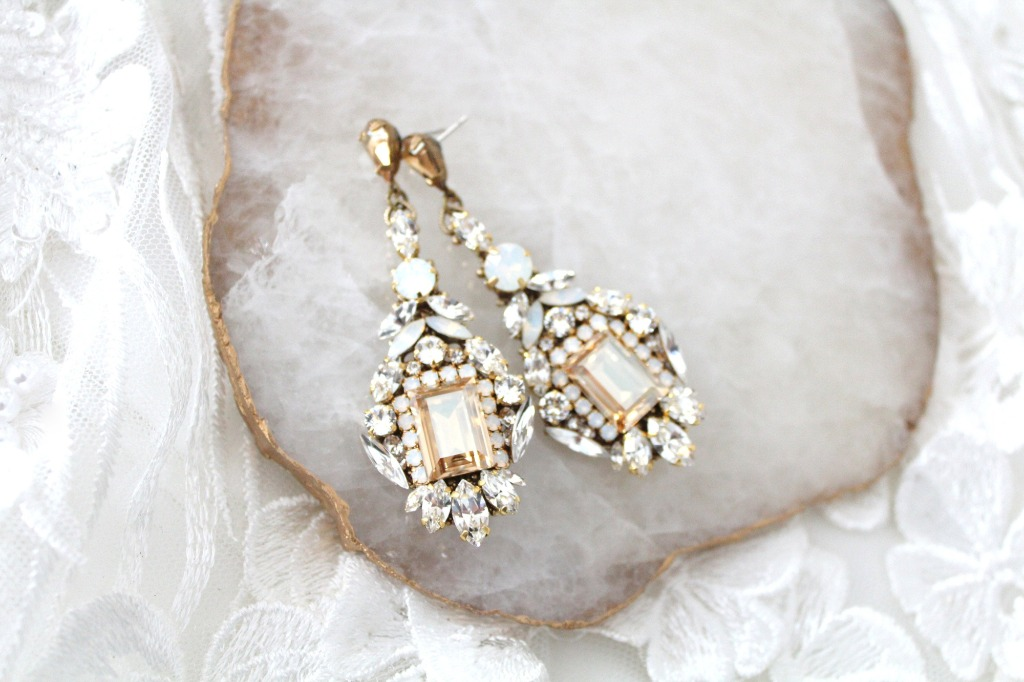 Handcrafted Antique gold Swarovski crystal Statement Bridal earrings so unique and elegant !