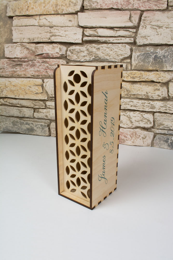 Commemorate your special day with custom wine boxes. These boxes can be printed, laser cut or engraved with images and text of your