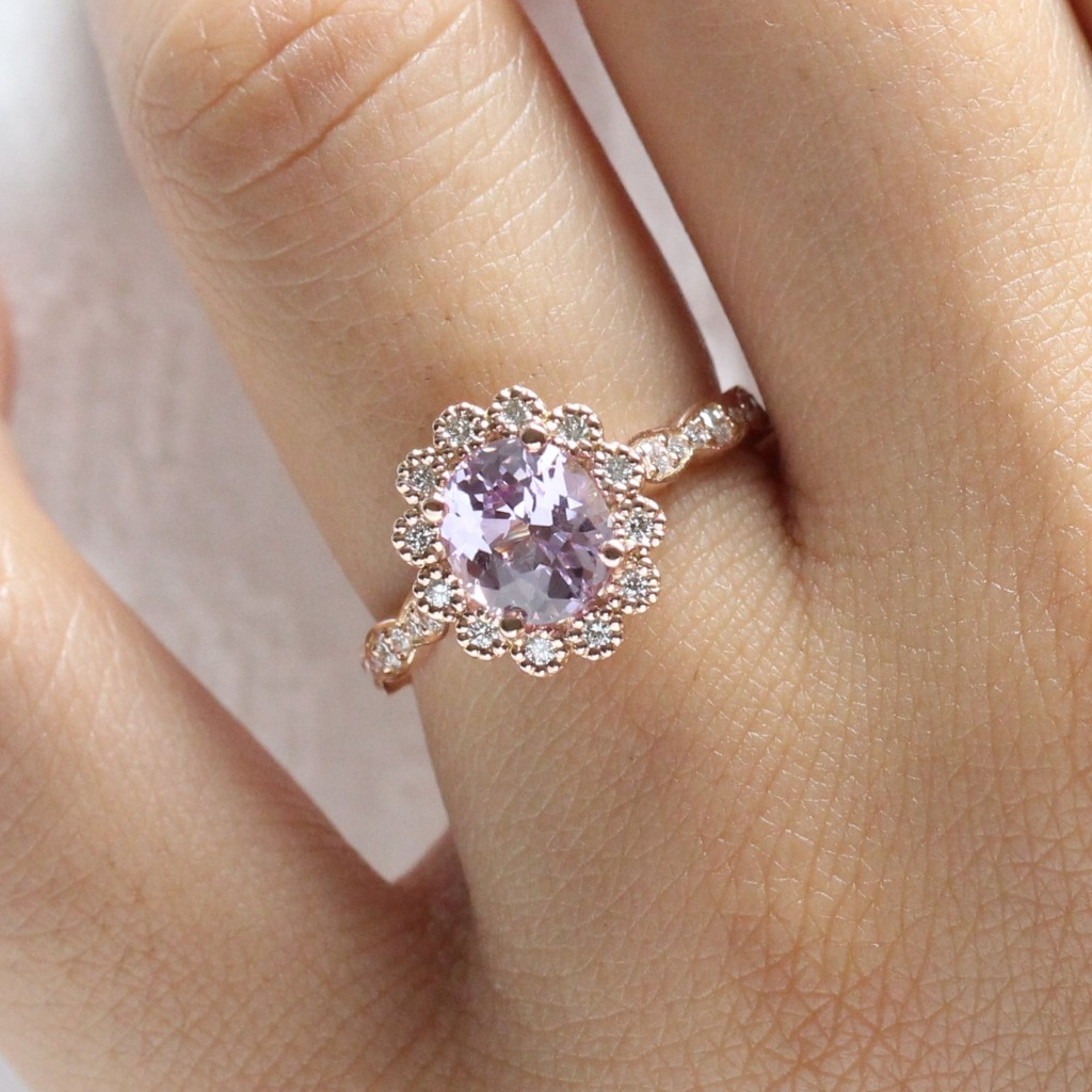 Perfect engagement ring for brides looking for one of a kind non-traditional engagement rings. Gorgeously crafted purple sapphire engagement