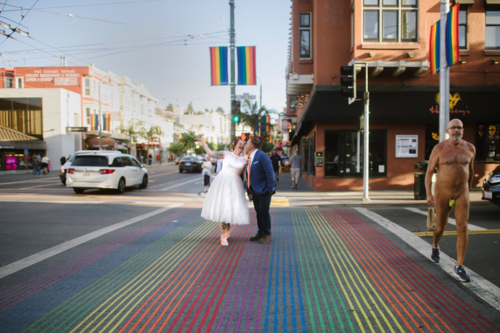Fun San Francisco Elopement on Rainbow crosswalk. A typical day in the Castro district.