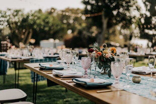 modern chic West Elm inspired wedding reception