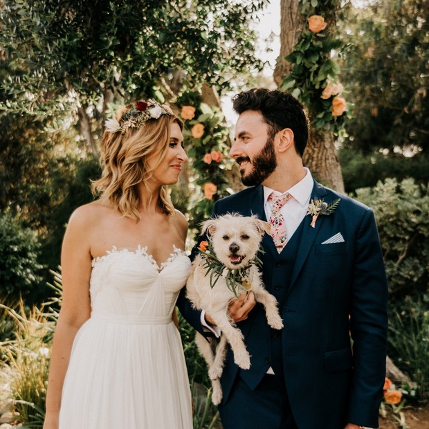 wedding couple and wedding puppy