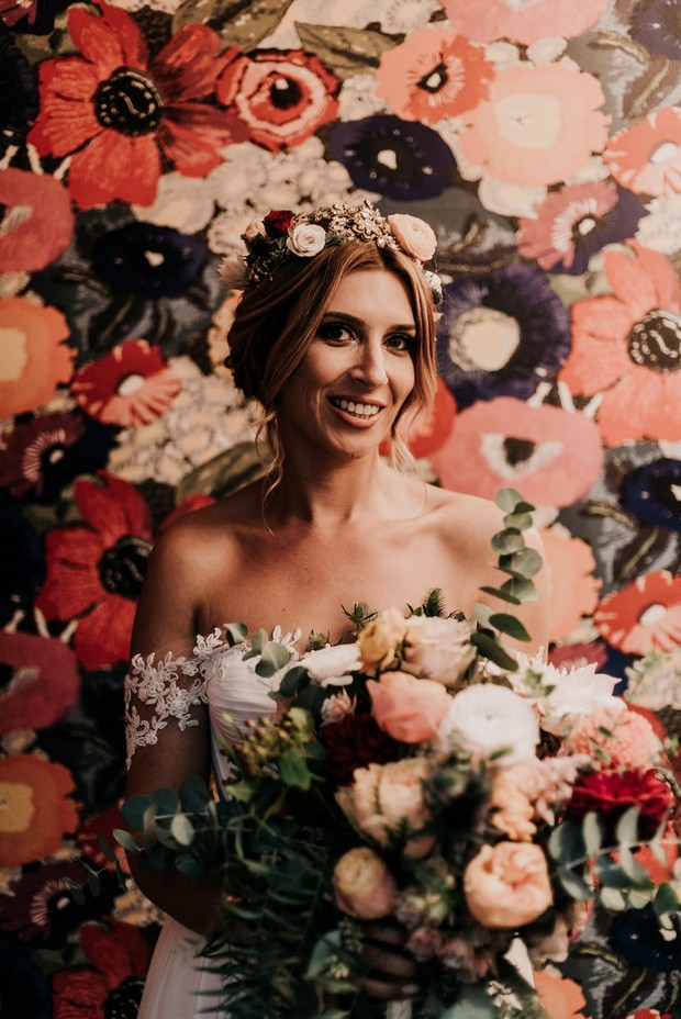 funky floral backdrop wedding portrait