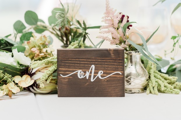 wood table number design