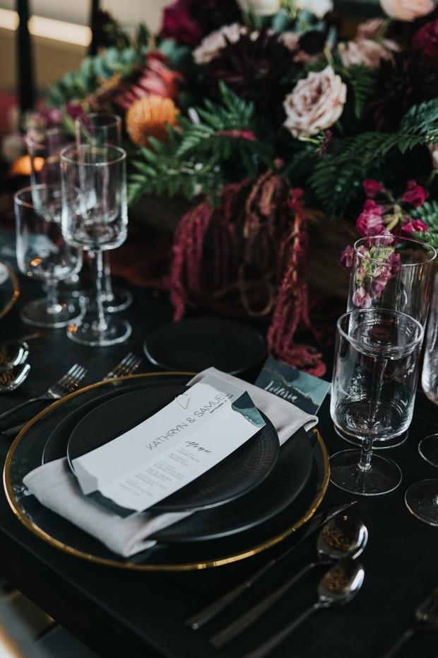 soft grey black and gold wedding place setting