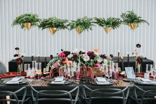 hanging ferns over your wedding table